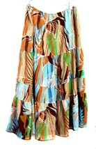 Sz L - Versailles Brown. Blue & Green Tiered Skirt Size Large - $28.49