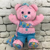 Doodle Bear Teddy Plush Pink Blue Happy Smiling Stuffed Animal Soft Toy Flaw - $9.89