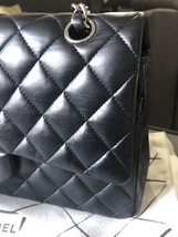 SALE* AUTHENTIC Chanel Quilted Lambskin Classic Medium Black Double Flap Bag SHW image 11