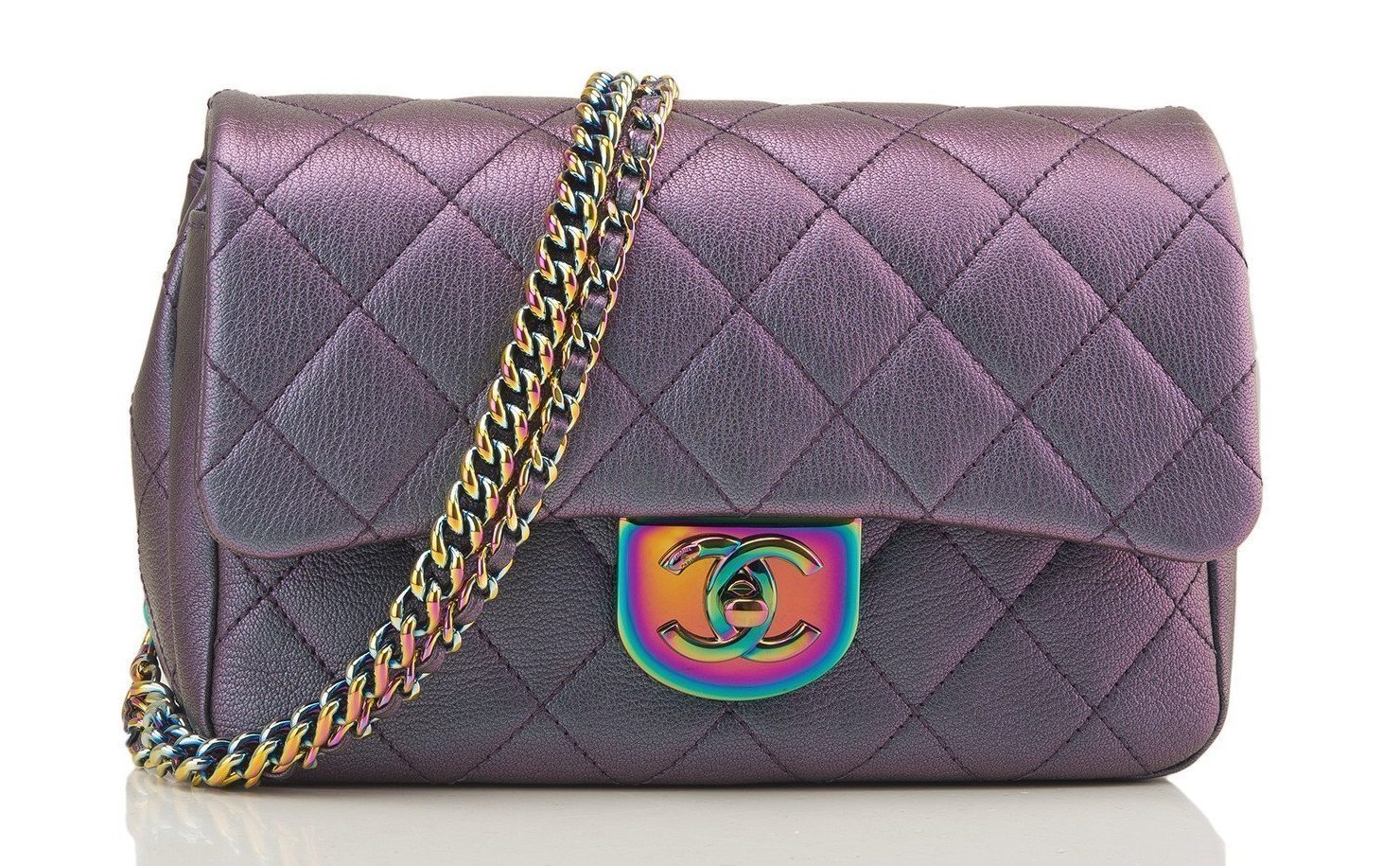NEW AUTH Chanel Iridescent Purple Mermaid Classic Small Flap RARE