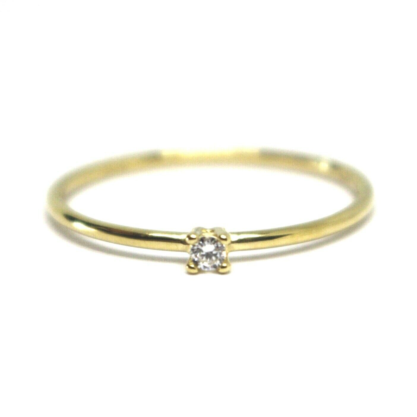 SOLID 18K YELLOW GOLD RING, MINI SOLITAIRE WITH CUBIC ZIRCONIA WIRE ROUND TUBE