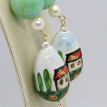 18K YELLOW GOLD EARRINGS AVENTURINE & CERAMIC DROP HOME HAND PAINTED IN ITALY image 3