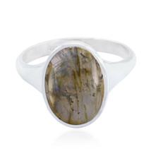 Real Gemstone Oval Cabochon Labradorite ring 925 Silver gift for grandmo... - $32.54