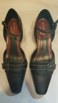 Aerology By Aerosoles Black Leather 2 inch heel buckle Size 9.5 - $14.03