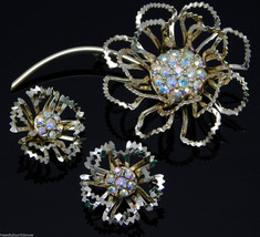 Vintage Sarah Coventry Floral Brooch & Earrings ALLUSION 1968 AB Rhinest... - $34.95