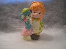 LITTLE GIRL CERAMIC/COMPOSIT WITH MOUSE, BANK (PIGGY BANK) HAND PAINTED ... - $4.95