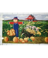 Tapestry Table Runner Fall/Autumn/Thanksgiving Scarecrow & Pumpkin Farm ... - $29.21