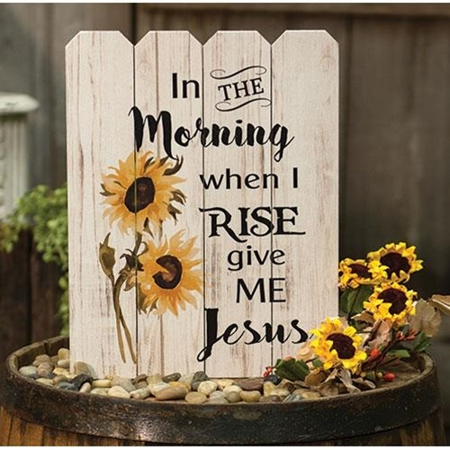 In the MORNING When I Rise Give me JESUS SiGN ~ WOOD PALLET SUNFLOWER JESUS SIGN - $26.95