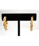 Napier Twisted Rope Adj Clip On Goldtone Earrings Sigmed - $12.60