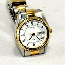 Seiko SQ 2 Tone Women Quartz Watch Day Date W/R New Battery Runs Fine - $27.88