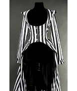 Black White Striped Victorian Gothic Corset Back Jacket Long Beetlejuice... - $72.12