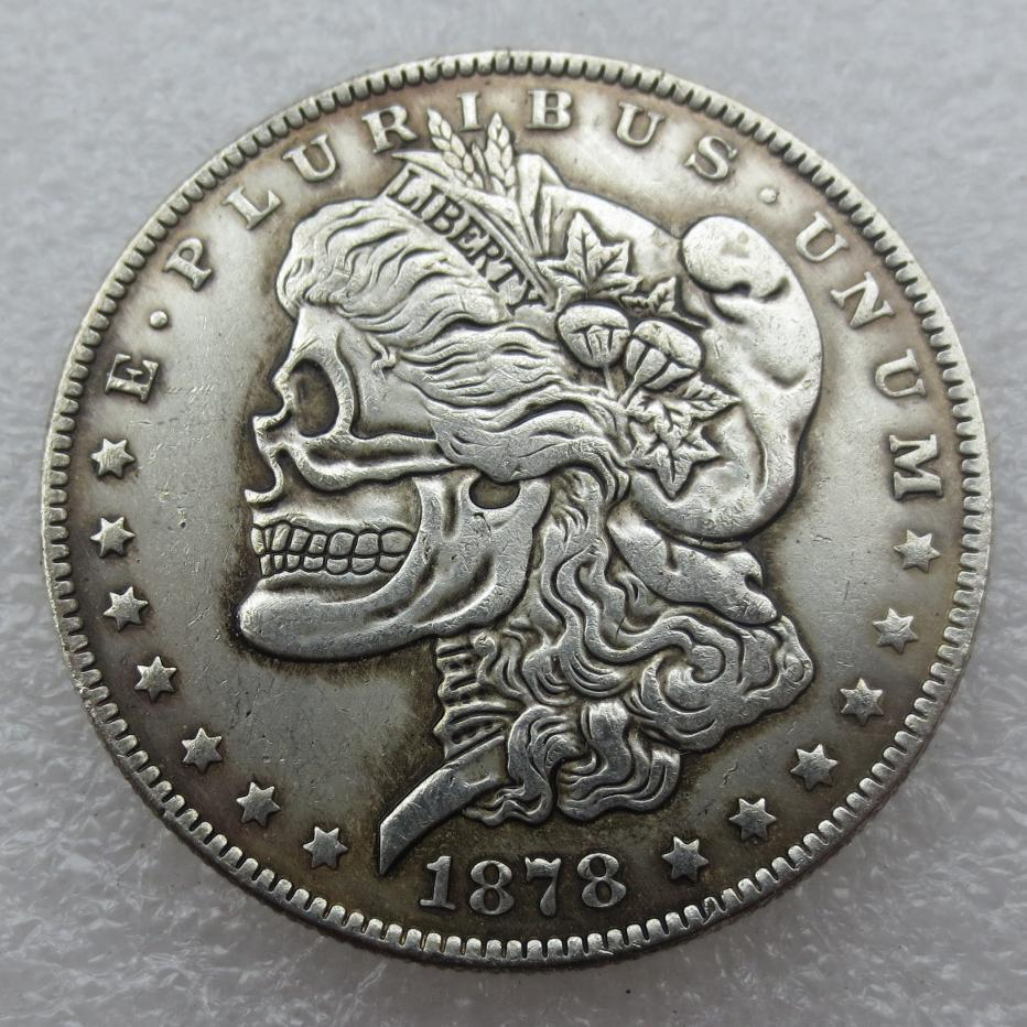 Primary image for Rare Hobo Nickel 1878 CC USA Morgan Dollar Skull Design Hand Made High Quality