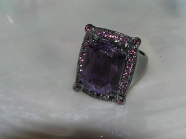 Estate Large Oxidized Silvertone with Emerald Cut Plastic Cab Ring Size ... - $11.02