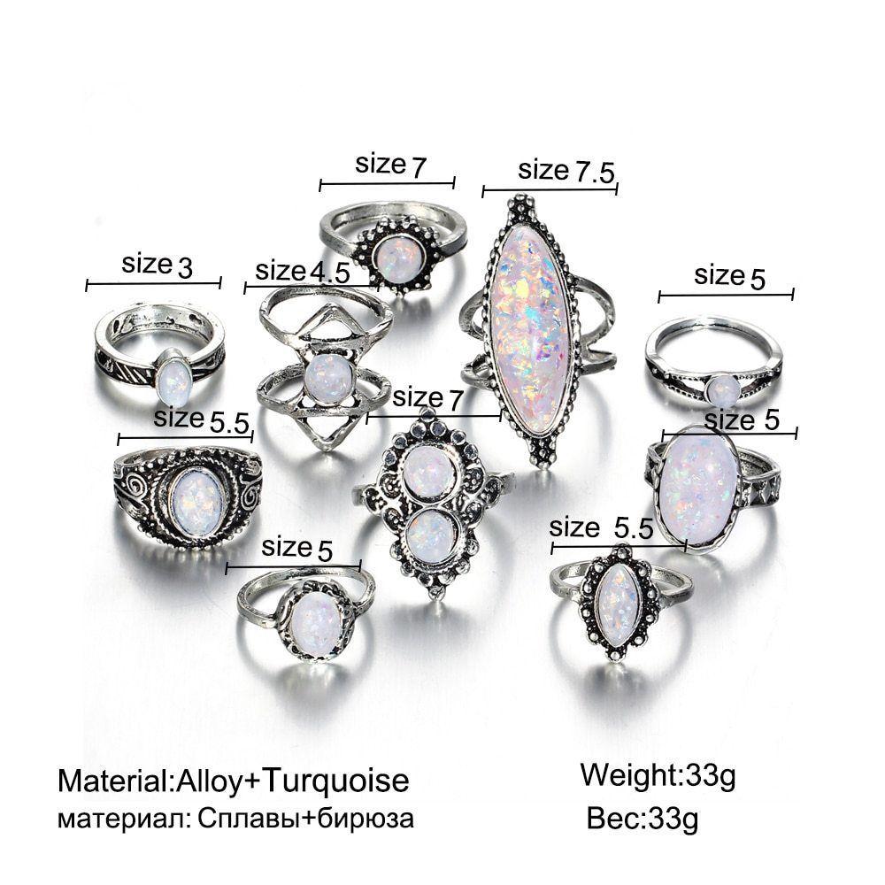 17KM® 10 pcs/set Vintage Big Natural Opal Stone Knuckle Shield Ring Set Bohemian