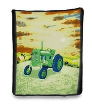 Soft Green Country Farm Tractor Fleece Throw Blanket 60 X 50 In. - $20.94 CAD