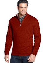 Tasso Elba Men's Red Velvet 1/4 Zip Sweatshirt Pullover Sweater Large - $602,22 MXN