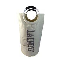 HANDLED LAUNDRY HAMPER BAG BEIGE GREY 38CM X 38CM X 72CM - $22.13