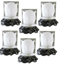 Metal Roses Base Tealight Candle Holder Frosted Rose Flower Glass Shade ... - $32.68