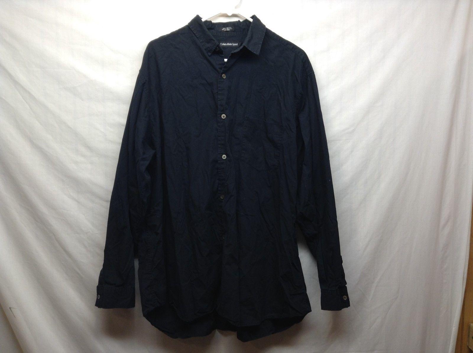 Men's Calvin Klein Sport Long Sleeve Black Collared Dress Shirt Sz XL