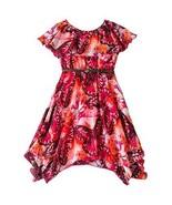 My Michelle Girls 7-16 Sz 7 Butterfly Crocheted Belted Chiffon Style Dress - $29.98