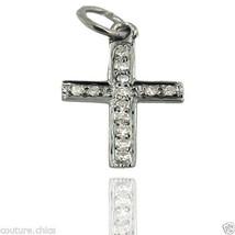 Pave Diamond 925 Sterling Silver CROSS Charm Pendant Religious Handmade ... - $92.57