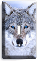 WILD GRAY WOLF W BLUE EYES SNOW SINGLE LIGHT SWITCH WALL PLATE COVER HOM... - $9.99