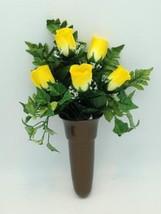 Crypt Mausoleum Vase & Silk Yellow Rose Flowers w/ Disc Base Ring for Epoxy - $105.79