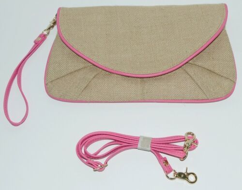WB B825BHTPK Burlap Clutch Purse Pink Trim Snap Closure
