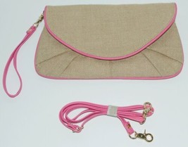 WB B825BHTPK Burlap Clutch Purse Pink Trim Snap Closure image 1