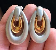 ALICE CAVINESS Vintage Silver and Gold-Tone Clip-on EARRINGS - 1 3/4 inches - $48.50