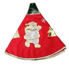 "36"" Christmas Tree Skirt Gold Snowman - $15.84"