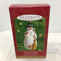 2001 My First Snowman Hallmark Christmas Tree Ornament MIB Price Tag H5 - $28.22