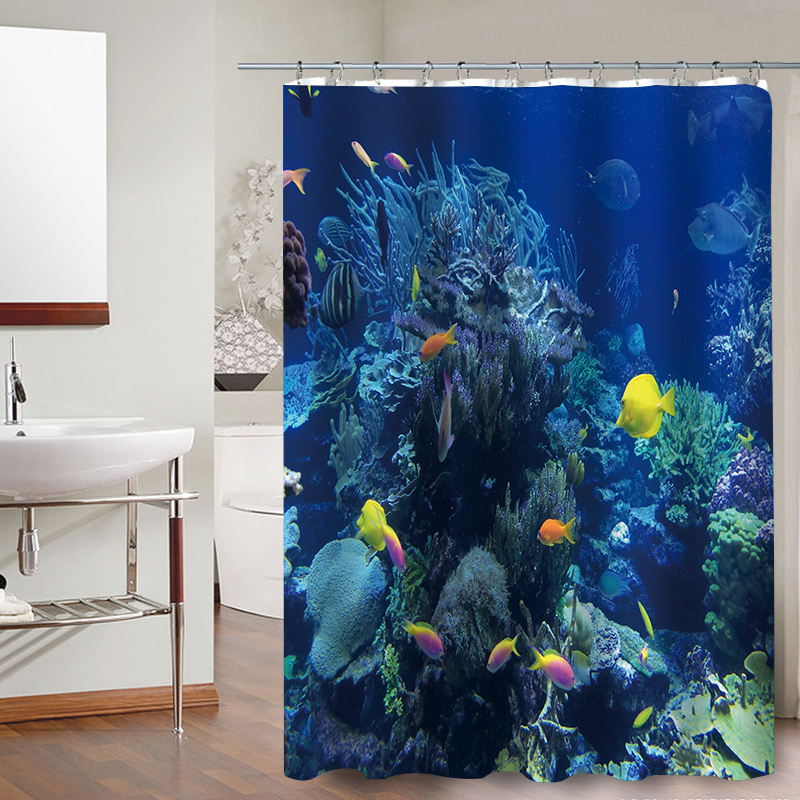 Ign colorful tropical fish reefs polyester fabric bathroom waterproof shower curtains home decor
