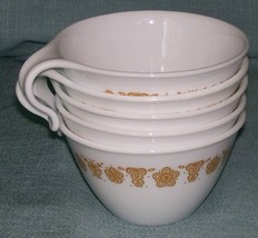Vintage PYREX CORELLE BUTTERFLY GOLD CUP/ Mug-Open Hook Handle -Set of 5... - $7.95