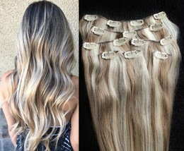 """18"""",20"""",22"""",24"""" 100% Remy Human Highlighted Hair Extensions 7Pcs Clip in #8/613 - $69.29+"""