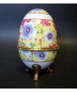 Easter Egg Hinged Trinket Box Floral Images Three Legged Multi-color 3 t... - $17.99