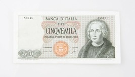1964 Italia 5000 Liras Note XF Banca D'Italia Extra Fino Italiano P #98 - $166.44