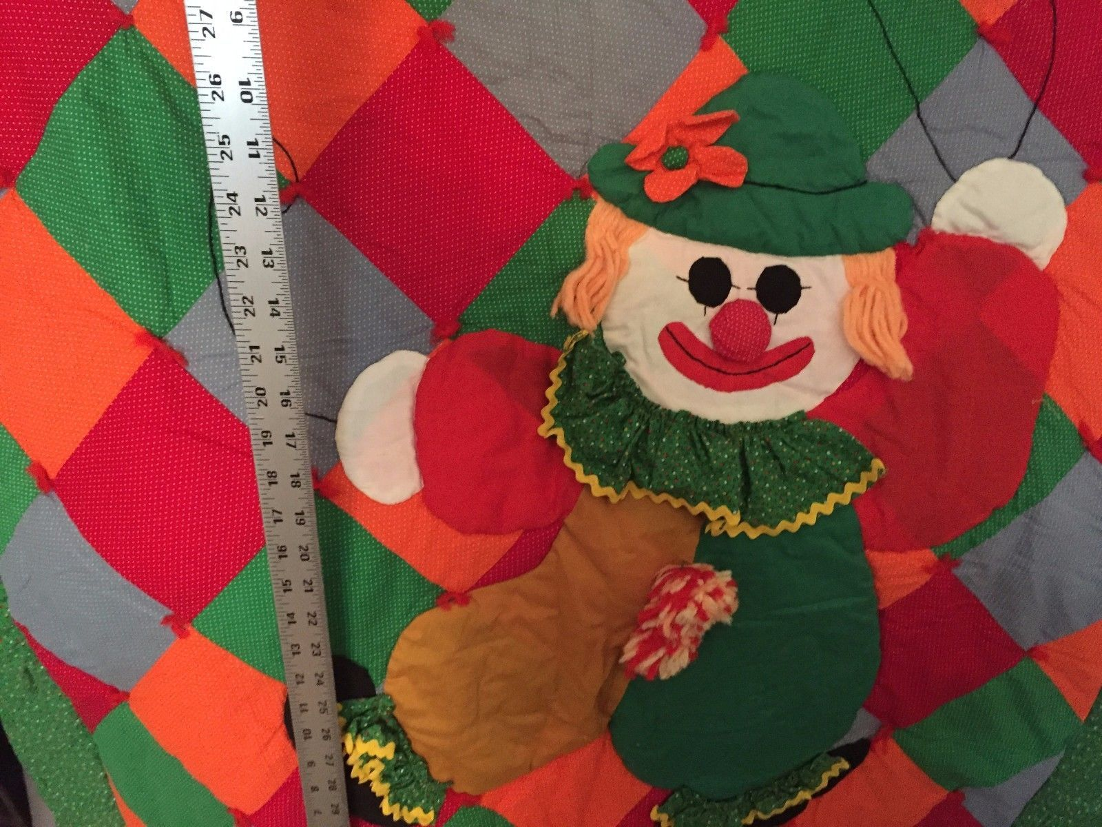 VINTAGE Handmade Clown Quilt Wall Hanging Child Crib Toddler Bright Colors 19951
