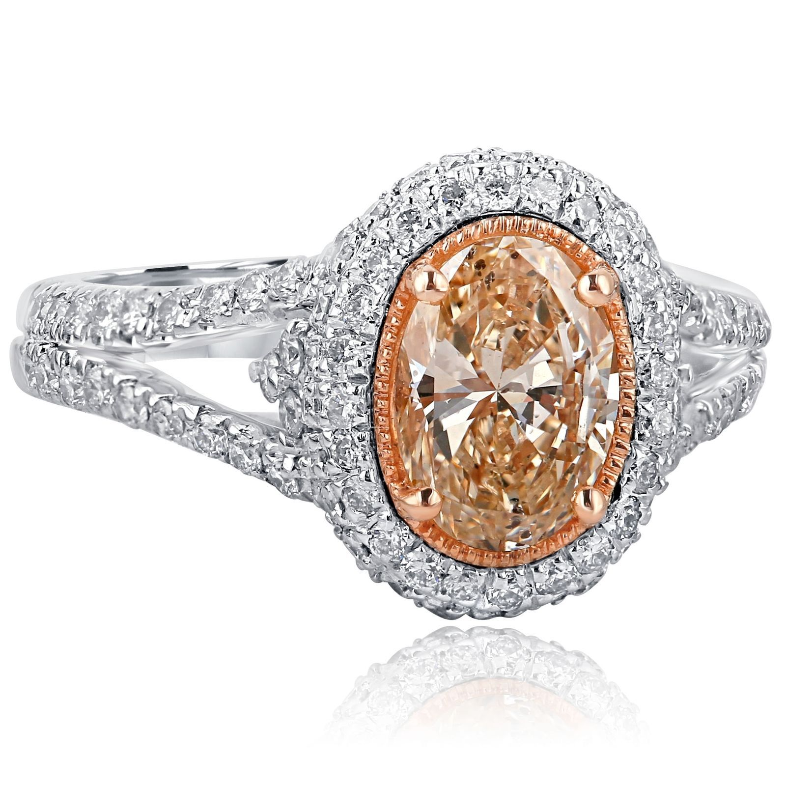 Primary image for 2.01 TCW Oval Cut Brownish Yellow Diamond Engagement Halo Ring 18k White Gold Sp