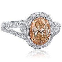 2.01 TCW Oval Cut Brownish Yellow Diamond Engagement Halo Ring 18k White... - £2,860.82 GBP