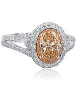 2.01 TCW Oval Cut Brownish Yellow Diamond Engagement Halo Ring 18k White... - $3,563.01