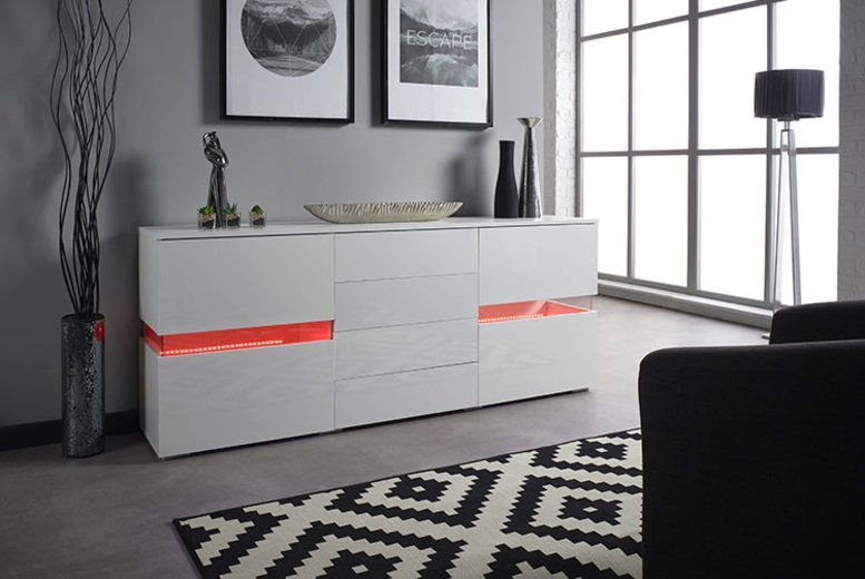 New Stunning High Gloss White LED Light Sideboard Drawers with Remote RRP £499