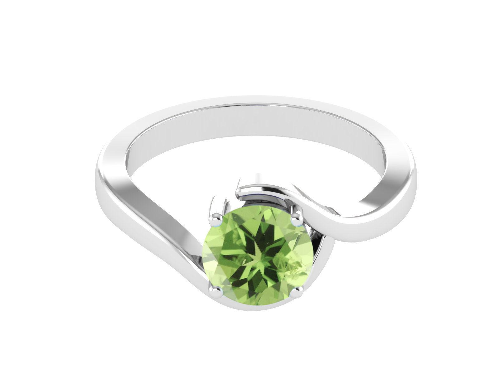 Stylish Round Peridot Gemstone 925 Silver Party Ring US Size 7 SHRI1104