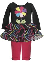 Bonnie Jean Baby Girl 3M-24M Pin Wheel Flower Stem Tier Dress / Legging Set