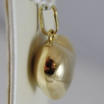 18K YELLOW GOLD ROUNDED HEART CHARM PENDANT SHINY .98 INCHES MADE IN ITALY image 2
