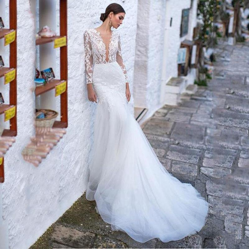Ding dress women long sleeves lace appliqued beach bridal dress sexy backless boho wedding gowns