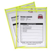 C-Line Neon Stitched Shop Ticket Holders, Yellow, Both Sides Clear, 9 x ... - $26.53