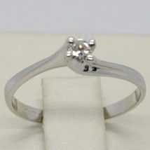 White Gold Ring 750 18K, Solitaire with Diamond Carat 0.08, Criss Crossed, Italy image 2