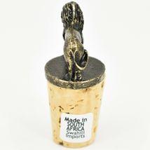 South African Cast Metal w Antique Brass Finish Lion Wine Bottle Cork Stopper image 4