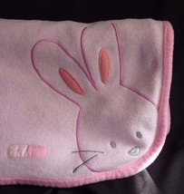 Carters Pink Fleece Embroidered Bunny Rabbit Tiny Hugs Patch Baby Blanke... - $13.22